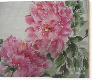 Wood Print featuring the painting Peony-3-25 by Dongling Sun