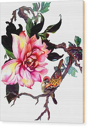 Peony And Birds Wood Print