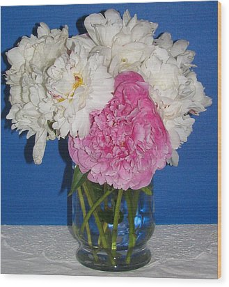 Wood Print featuring the photograph Peony Bouquet 7 by Margaret Newcomb