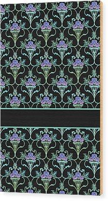 Peony Damask On Black Wood Print by Jenny Armitage