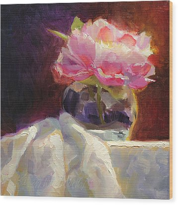 Peony Glow - Square Still Life Wood Print by Karen Whitworth