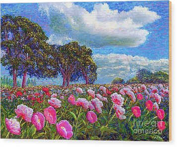 Peony Heaven Wood Print by Jane Small