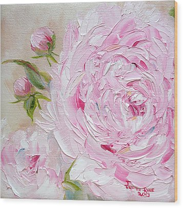 Wood Print featuring the painting Peony by Judith Rhue