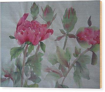 Peony010 Wood Print by Dongling Sun