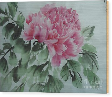 Wood Print featuring the painting Peony425012-9 by Dongling Sun