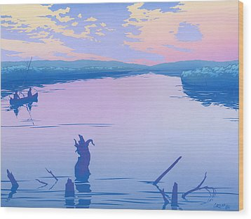 abstract people Canoeing river sunset landscape 1980s pop art nouveau retro stylized painting print Wood Print by Walt Curlee