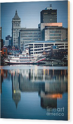 Peoria Illinois Cityscape And Riverboat Wood Print by Paul Velgos