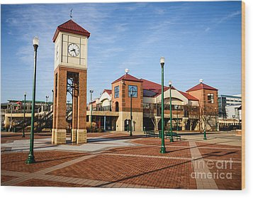 Peoria Illinois Riverfront Businesses And Clock Tower Wood Print by Paul Velgos