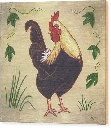 Pepper The Rooster Wood Print by Linda Mears