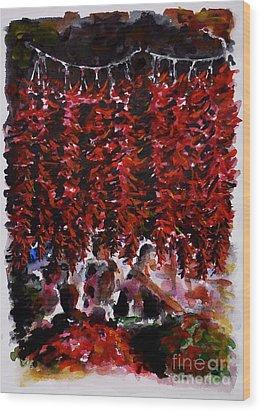 Pepper Wood Print by Zaira Dzhaubaeva