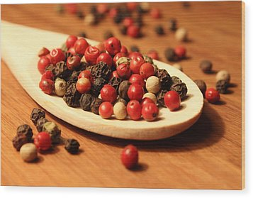 Peppercorns Wood Print by Joseph Skompski
