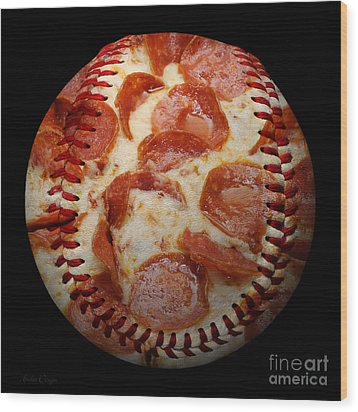 Pepperoni Pizza Baseball Square Wood Print by Andee Design
