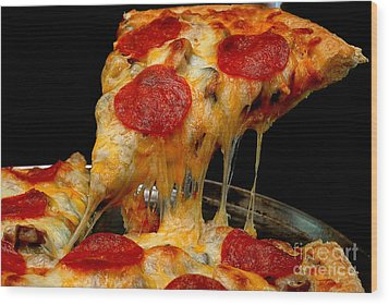 Pepperoni Pizza Slice Wood Print