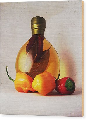 Peppers And Oil Wood Print by Shawna Rowe