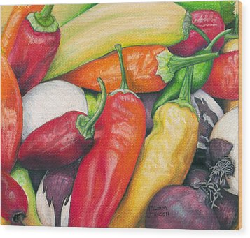 Peppers And Onions Wood Print