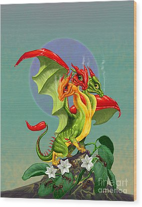 Peppers Dragon Wood Print by Stanley Morrison