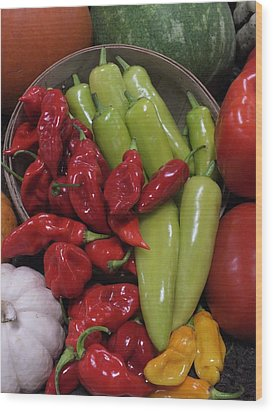 Peppers Etc. Wood Print by Christina Shaskus