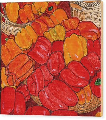 Peppers Galore Wood Print by Phil Strang
