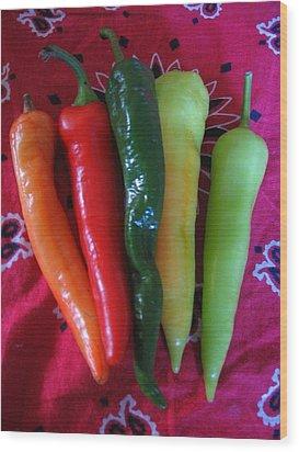 Peppers On Red Bandana Wood Print