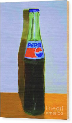 Pepsi Cola Bottle Wood Print by Wingsdomain Art and Photography