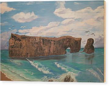 Wood Print featuring the painting Perce Rock by Sharon Duguay