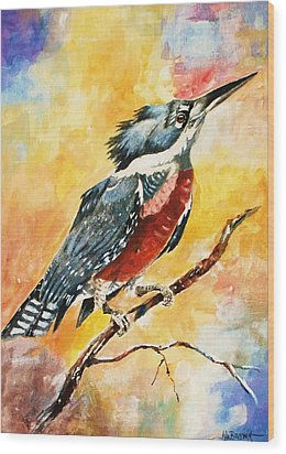 Wood Print featuring the painting Perched Kingfisher by Al Brown