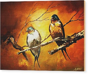 Perched Swallows Wood Print