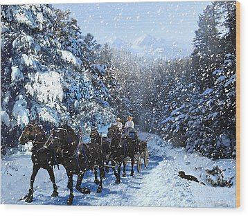 Percheron Team In Snow Wood Print by Ric Soulen