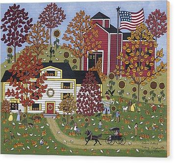 Percy's Pumpkin Patch Wood Print by Medana Gabbard