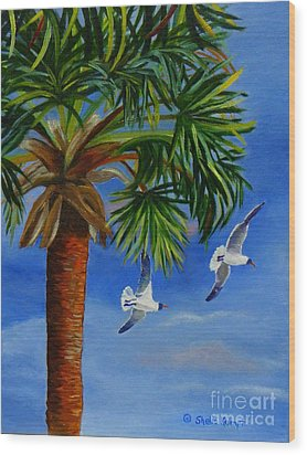 Wood Print featuring the painting Perfect Flight  Palm Tree And Seagulls by Shelia Kempf