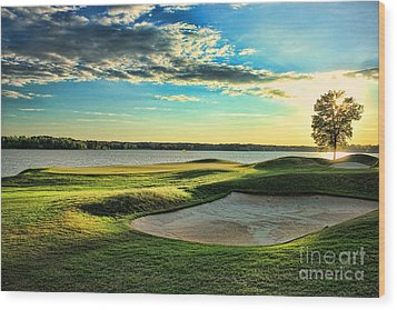 Perfect Golf Sunset Wood Print by Reid Callaway