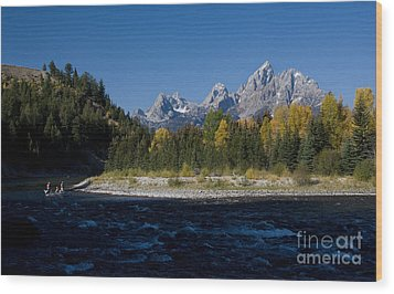 Perfect Spot For Fishing With Grand Teton Vista Wood Print by Karen Lee Ensley