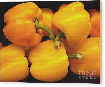 Perfect Yellow Peppers Wood Print by Kathy Baccari