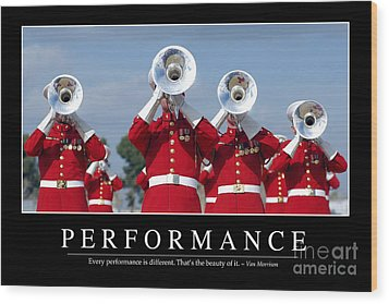 Performance Inspirational Quote Wood Print by Stocktrek Images