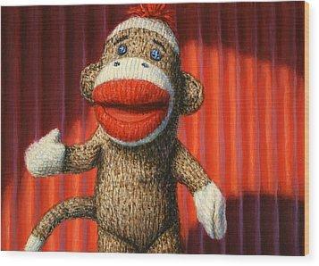 Performing Sock Monkey Wood Print by James W Johnson