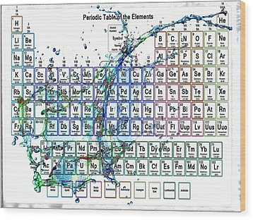 Periodic Table Colorful Liquid Splash Wood Print