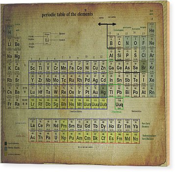 Wood Print featuring the mixed media Periodic Table Of Elements by Brian Reaves