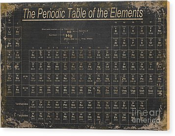 Periodic Table Of The Elements Wood Print by Grace Pullen