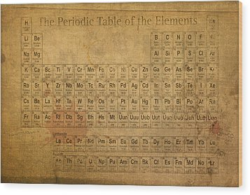 Periodic Table Of The Elements Wood Print by Design Turnpike
