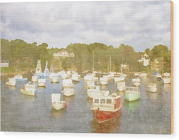 Perkins Cove Lobster Boats Maine Wood Print by Carol Leigh