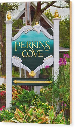 Perkins Cove Sign Wood Print by Jerry Fornarotto