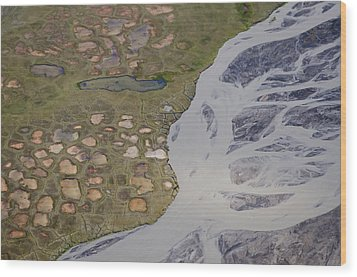 Permafrost Polygons And Braided River Wood Print