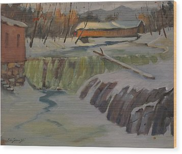 Perrines Covered Bridge Wood Print by Len Stomski