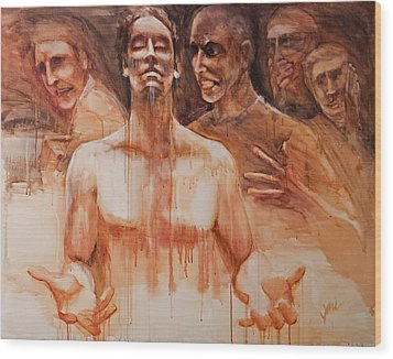 Wood Print featuring the painting Persecution by Jani Freimann