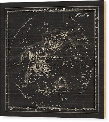 Perseus Constellations, 1829 Wood Print by Science Photo Library
