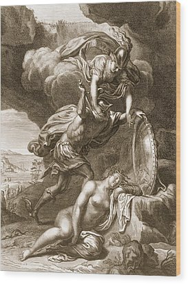 Perseus Cuts Off Medusas Head, 1731 Wood Print by Bernard Picart