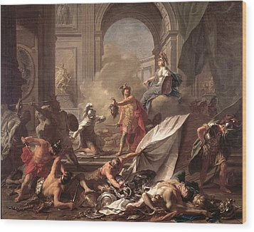 Perseus, Under The Protection Of Minerva, Turns Phineus To Stone By Brandishing The Head Of Medusa Wood Print by Jean-Marc Nattier