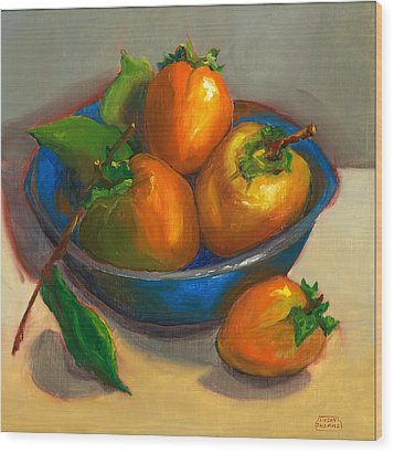 Wood Print featuring the painting Persimmons In Blue Bowl by Susan Thomas