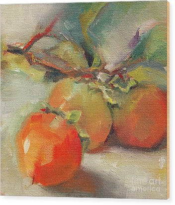 Wood Print featuring the painting Persimmons by Michelle Abrams
