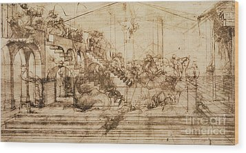 Perspective Study For The Background Of The Adoration Of The Magi Wood Print by Leonardo da Vinci